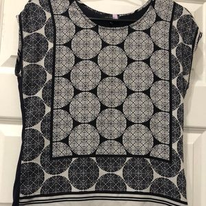 The Limited printed blouse, blue/black/white